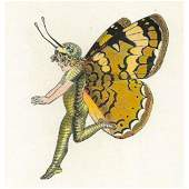 1914 Butterfly Babies Lithograph, Pearl Crescent