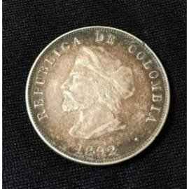 1892 Columbia 50 Centavos Columbus Silver Coin