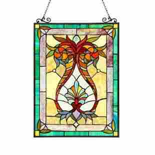 Tiffany-style Victorian Stained Art Glass Window Panel