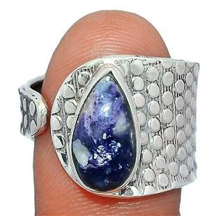 Violet Flame Opal Modern Abstract Sterling Silver Ring