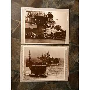 World War II Aircraft Carrier Sepia Tone Photo Prints
