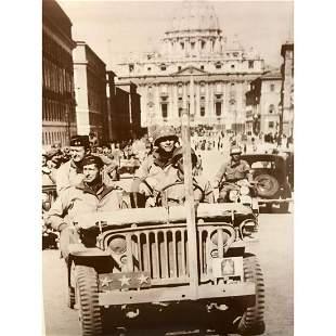 World War II Sepia Photo Print, General in Rome 1944