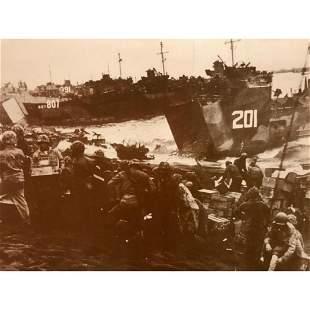 World War II Iwo Jima Landing Sepia Tone Photo Print