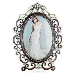 Russian Enamel & Crystal Bridal Photo Frame