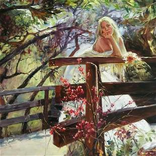 21st Century Impressionist Oil Painting, Girl On A