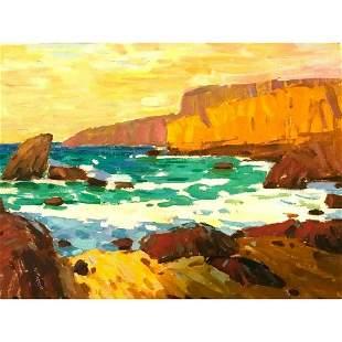 Ukrainian Impressionism, Rocky Coastline Landscape