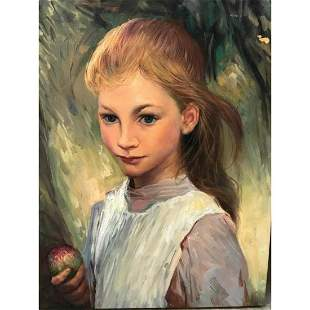 Impressionist Oil Painting, Young Girl With Apple