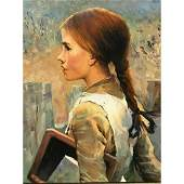 20thc Russian Oil Painting, Peasant School Girl