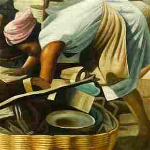 Gullah Sweetgrass Basket Seller Oil Painting