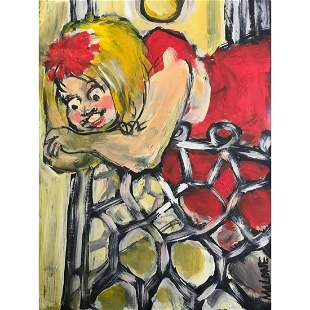 20thc Folk Art Oil Painting, Mardi Gras Balcony