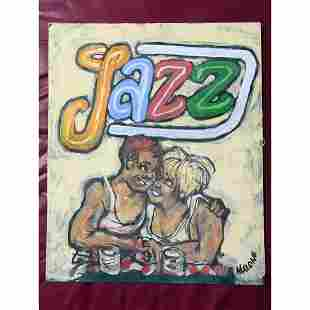 20thc Signed African American Folk Art Oil Painting