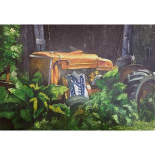 20thc Signed Oil Painting, Rural Scene, Barn & Tractor