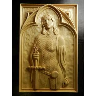 Ukranian Carved Wooden Plaque, Lady Warrior