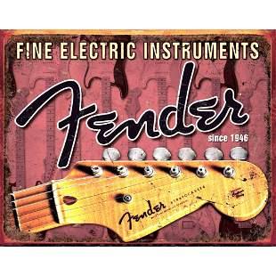 Fender Guitar Metal Pub Bar Sign