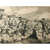 Rare 19th Engraving, Winslow Homer, The Sea Shore