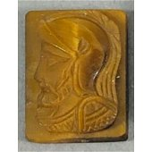 Antique Carved Tigers Eye Classical Soldier Cameo