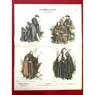 Rare 19thc German Costume Plates, Habits of Religious