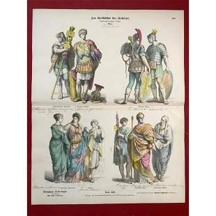 Rare 19thc German Costume Plates, Romans