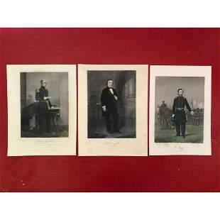 Group of 19thc Civil War Steel Engravings, Generals,