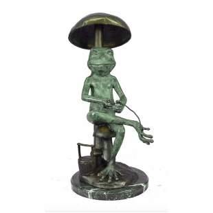 Signed Limited Edition Frog Under Mushroom Bronze