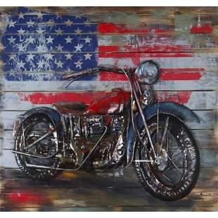 Harley Davidson Motorcycle 3-D Mixed Media Metal