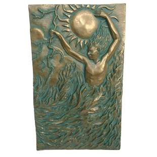 Signed Greek Fire Element Bronze Plaque
