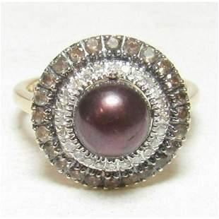 Estate Black Tahitian Pearl, Smoky Quartz & Diamond