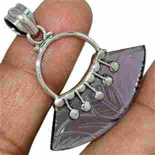 Blue Iolite Gemstone Carving & Sterling Silver Pendant