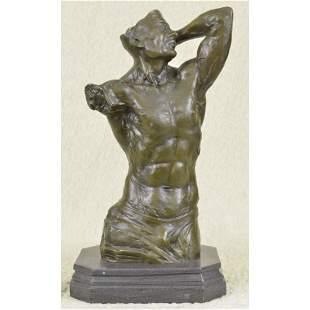 Original Signed Bronze Male Torso Sculpture