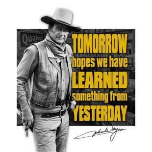 John Wayne Tomorrow Hopes Metal Pub Bar Sign