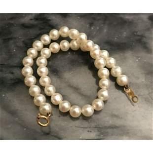 Vintage 4mm Akoya Pearl 14kt Gold Bracelet