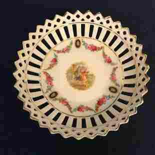 Vintage Bavaria German Porcelain Reticulated Nut Candy