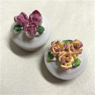 Pair of Bisque Porcelain Roses Trinket Boxes