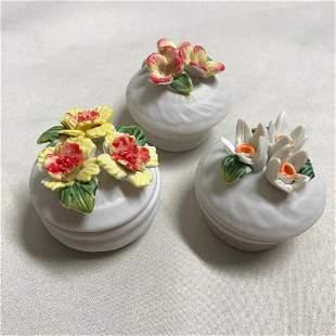 Group of Bisque Porcelain Flower Trinket Boxes