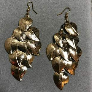 Gold Tone Metal Palm Leaves Chandelier Earrings