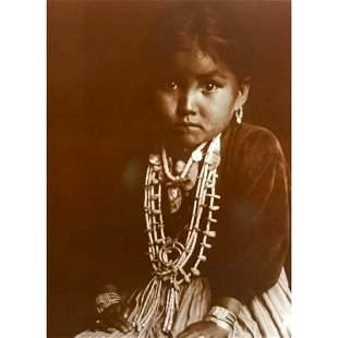 Young Navajo Native American Girl Sepia-Tone Photo