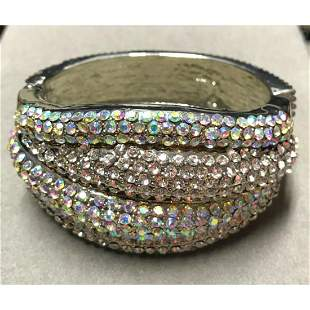 Multi Aurora Borealis Crystal Hinged Cuff Bracelet