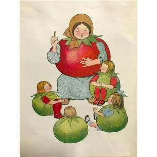 Early 1900's Red Tomato Children's Book Illustration