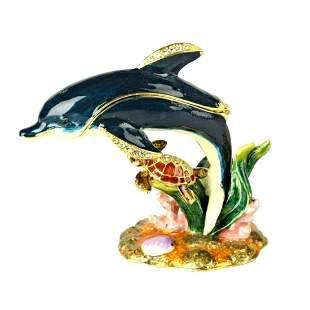 Sea Life, Dolphin & Turtle Trinket, Jewel Box