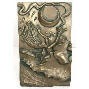 Signed Greek Water Element Bronze Plaque