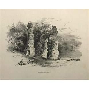 19thc Engraving, Natural Chimneys, Cyclopean Towers,