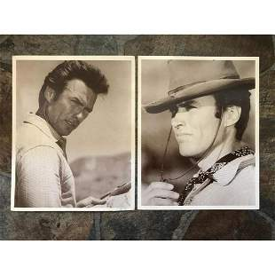 Pair of Clint Eastwood Sepia Photo Prints