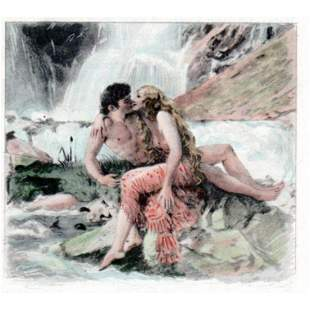 Vintage French Etching, Paul-Emile Becat, Waterfall