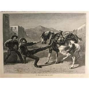 19thc Wood Engraving, Gold Prospectors, Black Hills