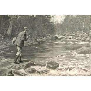 Early 1900's Half Tone Print, A.B. Frost, Supper In