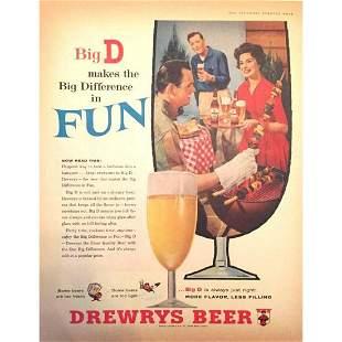 Mid-century Drewrys Beer Ad