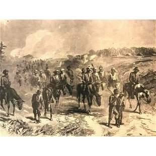 19thc Civil War Wood Engraving, General Grant's