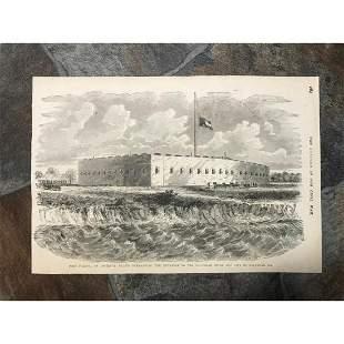 19thc Civil War Wood Engraving, Fort Pulaski Georgia