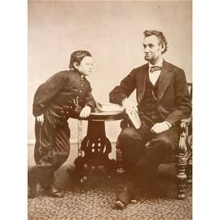 Abraham Lincoln & Tad Lincoln Sepia Tone Photo Print