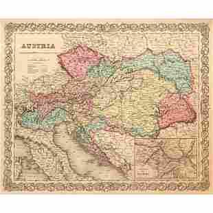 19thc J. H. Colton Map of Austria